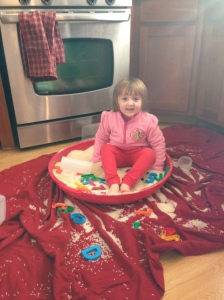 Did you know a rice bin helps regulate the nervous system? Which sometimes can feel so good! Cora not only played with measuring cups, but also enjoyed burying alphabet letters.