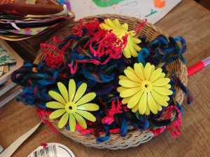 Penelope also made Camden a birthday cake out of these recyclable materials and scraps of yarn.