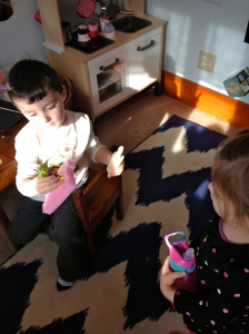 Lily made Camden a birthday cake out of styrofoam, pipe cleaners and foam beads.